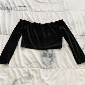 Black Off The Shoulder Long Sleeve Crop Top